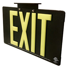 photoluminescent emergency exit sign
